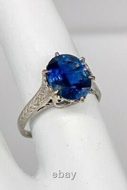 Antique 1920s $10,000 3ct Natural Blue CERTIFIED Sapphire Platinum Filigree Ring
