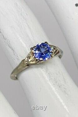 Antique $3K Certified Natural Blue NO HEAT Sapphire Diamond 14k White Gold Ring