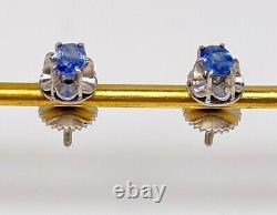 Antique $4000 1.13ct Natural NO HEAT Blue CERTIFIED Sapphire Platinum Earrings