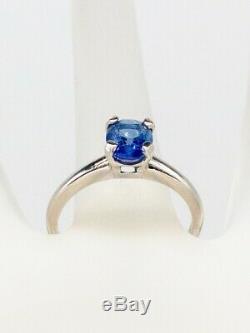 Antique $5000 1.62ct Natural Certified CORNFLOWER Blue Sapphire Platinum Ring