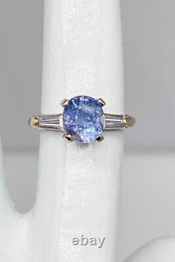 Antique $6000 Certified NO HEAT Natural 2ct Blue Sapphire Diamond Platinum Ring