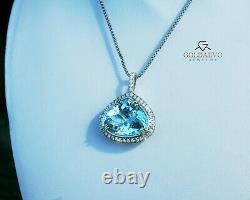 Aquamarine Pendant Necklace Gold Diamond 14K Certified GIA 16.5CT RETAIL $13,400