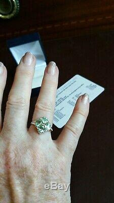 Authentic certified Paraiba Tourmaline&natural diamond ring. 2.11ct. 18ct gold. N-O