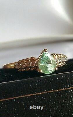 Authentic certified Paraiba Tourmaline pear solitaire & zircon ring. 9ct gold. N-O
