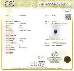BLUE SAPPHIRE ROYAL BLUE 1.54 Cts OVAL CUT NATURAL CEYLON CERTIFIED GEM 15328