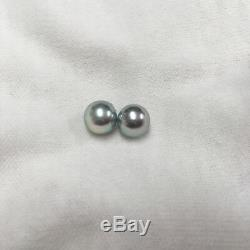 Beautiful Natural Blue Certified New Akoya Pearl Earring 8-8.5MM from Japan