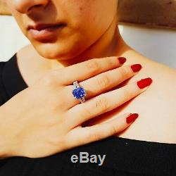 Beautiful design 5.03 carat blue sapphire 1.05 carat diamond ring certified