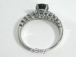 Blue Green Untreated Sapphire Ring 14K White Gold Certified Natural Heirloom $3