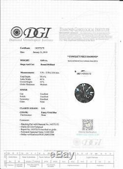 Blue Matching Pair Diamonds Round Shape 1.43 TCW VS1 Certified Natural Enhanced