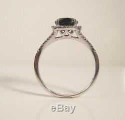 Blue Sapphire NEW Diamond Halo Ring 14K WG Certified 2ct Stunning White Gold