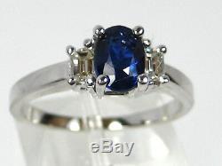 Blue Sapphire Ring 14K White Gold 3 Stone VS Diamond Certified $3,924