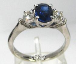 Blue Sapphire Ring 14K White Gold Pave 3 Stone Certified Heirloom Free $4,841