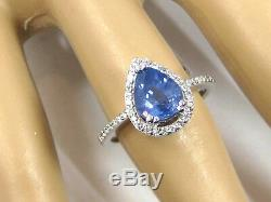 Blue Sapphire Ring 14K white gold Filigree Pave Halo Certified Natural Ap $3,994
