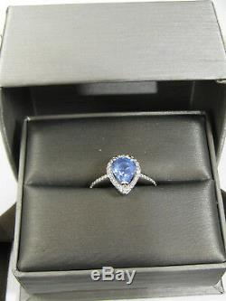 Blue Sapphire Ring 14K white gold Filigree Pave Halo Certified Natural Ap $4,494