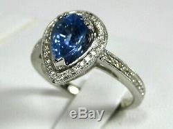 Blue Sapphire Ring 14K white gold Halo Natural GIA Certified Heirloom $5,932