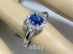Blue Sapphire Ring 14K white gold Pave Halo Certified Untreated Heirloom $4,79