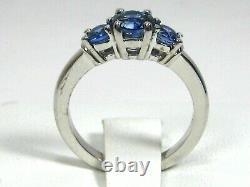 Blue Sapphire Ring 18K white gold 3 Stone GIA Certified Natural Heirloom $5,554