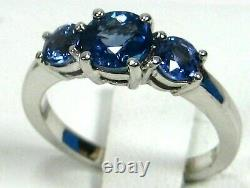 Blue Sapphire Ring 18K white gold 3 Stone GIA Certified Natural Heirloom $5,697