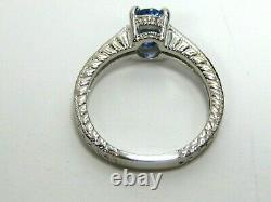 Blue Sapphire Ring 18K white gold Antique Style VS GIA Certified Heirloom $5,797