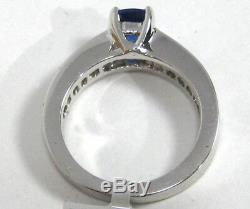 Blue Sapphire Ring 18K white gold Channel Diamond GIA Certified Heirloom $7,997