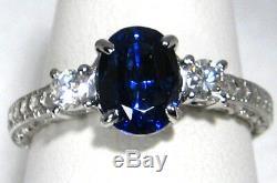 Blue Sapphire Ring Filigree 18K white gold 2.52ct VS2 Diamond CERTIFIED $11,125