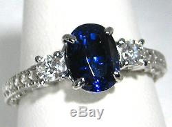Blue Sapphire Ring Filigree 18K white gold Diamond GIA Certified Heirloom $11,12
