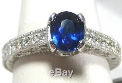 Blue Sapphire Ring Filigree Antique 18K White Gold Certified Heirloom Natural $5