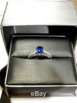 Blue Sapphire Ring Filigree Antique 18K White Gold GIA Certified Heirloom $5,840