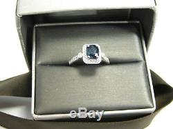 Blue Sapphire Ring Halo 14K White Gold Antique Certified Heirloom Free $4,825