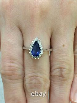 CERTIFIED 1.05 Ct High Quality Blue Sapphire Ring 18K Gold and Diamonds
