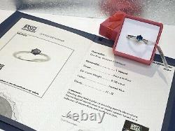 CERTIFIED 1/2ct Blue Diamond Tiffany-style 6-claw setting Solitaire ring, M