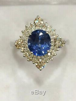 CERTIFIED 2 Ct TOP Quality Blue Sapphire Ring 18K Gold and Diamonds