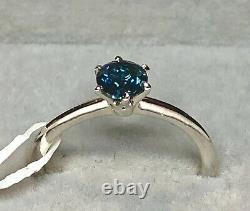 CERTIFIED. 560ct Blue Diamond Solitaire ring in 9k White Gold, size L