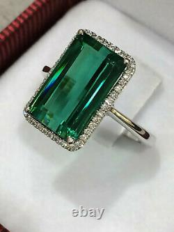 CERTIFIED 7.45 Ct TOP Quality Blue Green Tourmaline Ring 18K Gold and Diamonds
