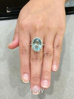 CERTIFIED High Quality 10.9 Ct Aquamarine ring 18K Gold and Diamonds