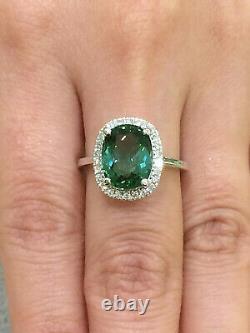 CERTIFIED High Quality 3.85 Ct Paraiba Tourmaline Ring 18K Gold and Diamonds