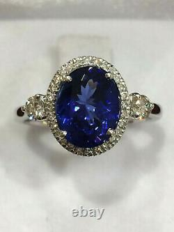 CERTIFIED Very High Quality 2.3 Ct Tanzanite ring 18K Gold and Diamonds