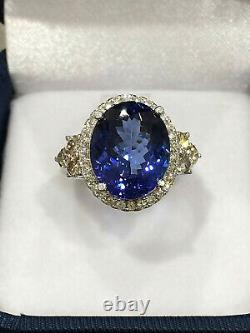 CERTIFIED Very High Quality 7.22 Ct Tanzanite ring 18K Gold and Diamonds