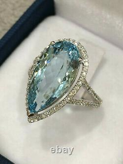 CERTIFIED Very High Quality 7 Ct Aquamarine ring 18K Gold and Diamonds