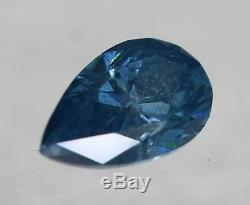 Certified 0.42Carat Fancy Sky Blue SI1 Pear Natural Diamond 3.94X6.49mm 2VG #84