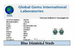 Certified 1.6Ct Round Brilliant Cut Blue Diamond Solitaire Studs In 925 Silver