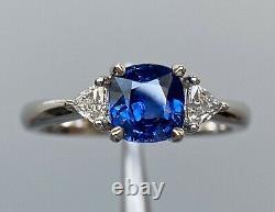 Certified 1.7 Ct NO HEAT Royal Blue Sapphire Diamond Three Stone Ring 18K W Gold