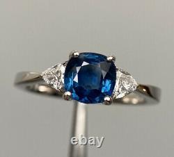 Certified 1.7 Ct NO HEAT Royal Blue Sapphire & E VS1 Diamond Ring 14K White Gold