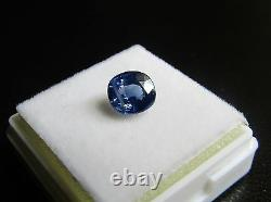 Certified 1.70ct Cushion Cut Violetish Blue Ceylon Sapphire