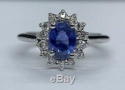 Certified 1.75 Ct Blue IF Ceylon Sapphire & VVS Diamond Ring 14K White Gold