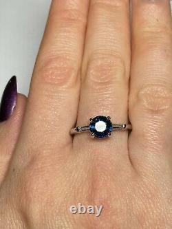 Certified 1.8 Ct NO HEAT Blue Sapphire Diamond Baguette Engagement Ring 14K Gold