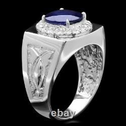 Certified 14K White Gold Sapphire & Diamond Ring Mens Est. Price 6,500.00