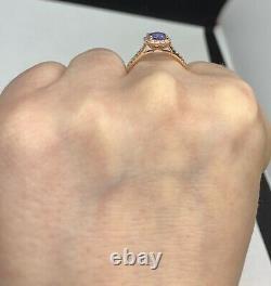 Certified 2.1 Ct Flawless Blue Sapphire & D VS1 Diamond Ring 14k Rose Gold