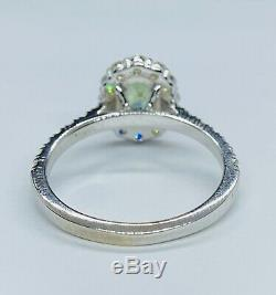 Certified 2.1 Ct Flawless Teal Blue Ceylon Sapphire DVS1 Diamond Ring 14k W Gold