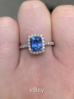 Certified 2.13 Ct NO HEAT Cornflower Blue Sapphire Diamond Ring 14k White Gold